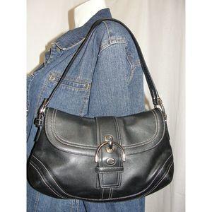 SOHO Black Buckle Ergo Flap Buckle Handbag 10910